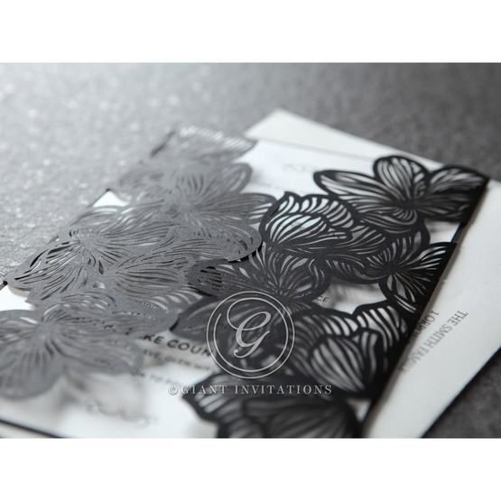 Black and white formal wedding invitation, gatefold floral pocket