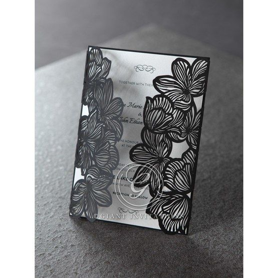 Cropped Black floral pocket wedding card, white inner paper