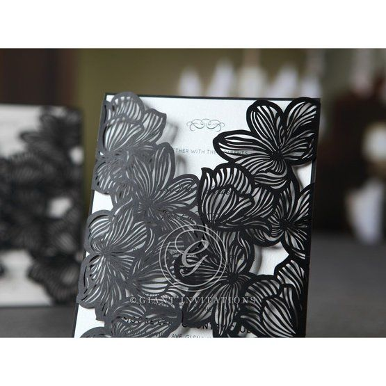 Black floral laser cut wedding invitation cropped
