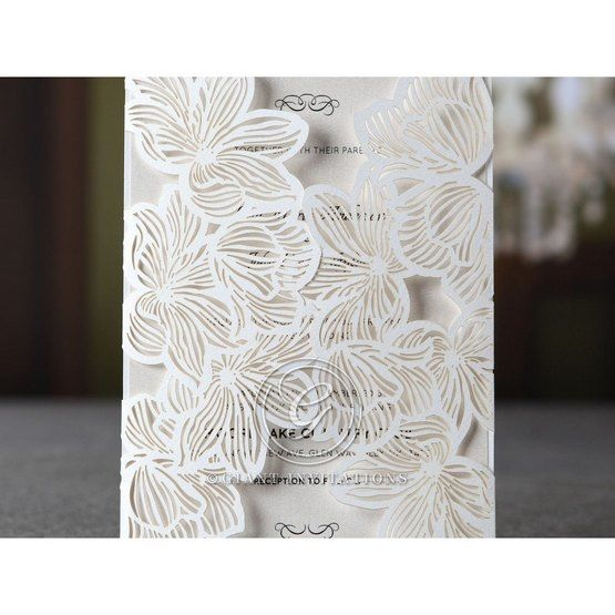 White Laser Cut Floral Lace - Wedding invitation - 43