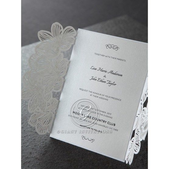 Gatefold laser cut design with white card