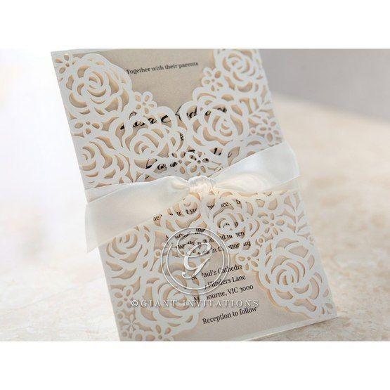Cropped floral gatefold; white laser cut invitation; beige inner paper