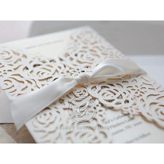 Silk ribbon detail; white floral invitation; gatefold