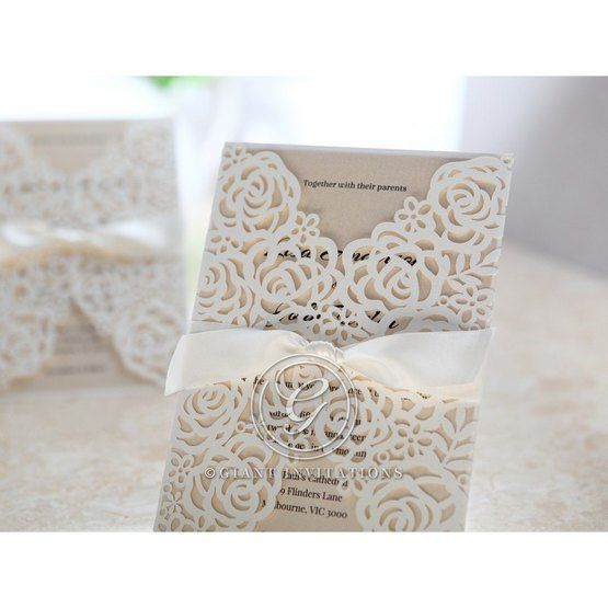 Rose themed gatefold wedding invite in pearl paper