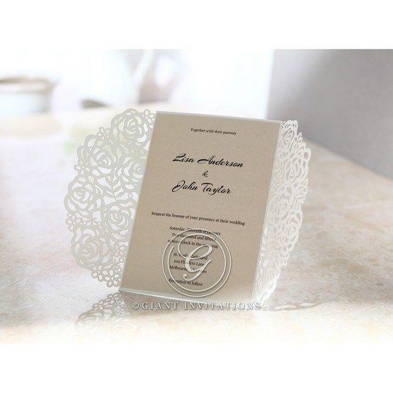 Rose designed laser cut sleeve with cream insert