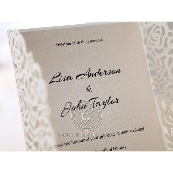 Thermography printed gatefol invitation; beige inner card