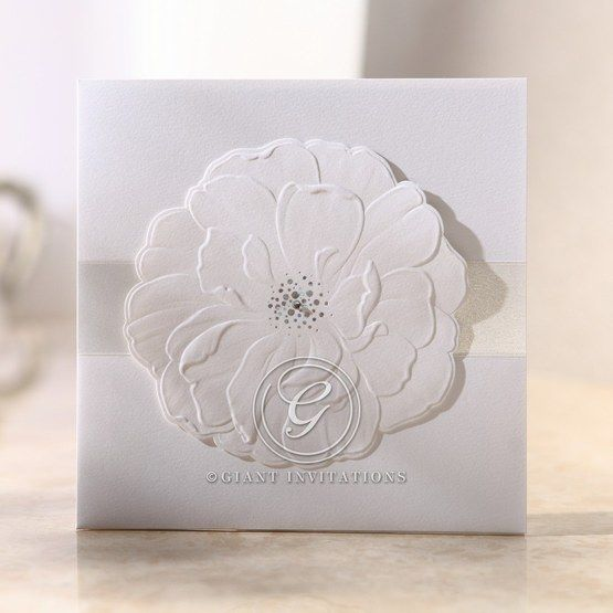 Jeweled urban flower, pearl paper finish, embossed design, pocket invitation