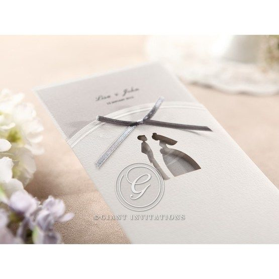 Ribboned Traditional design laser die cut embossed detail pocket invite, cropped