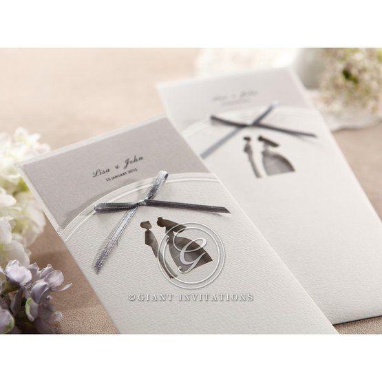 White laser die cut design grey ribboned and pocket invite, grey inner card