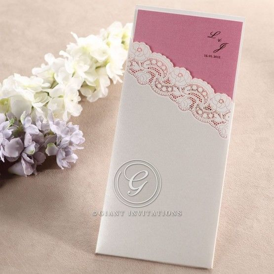 Pink Simple Laser Cut Pocket - Wedding invitation - 10