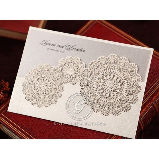 Silver/Gray Handmade Vintage Lace Floral - Wedding invitation - 69