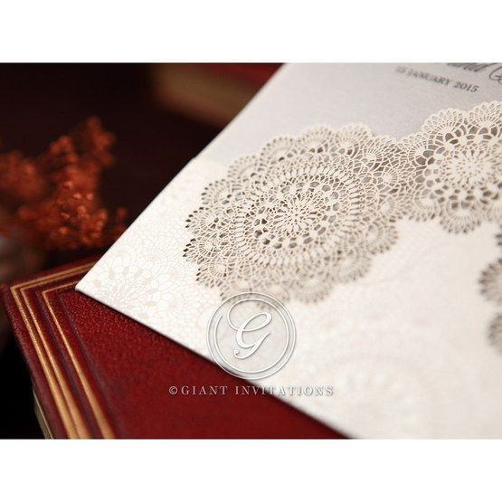 Silver/Gray Handmade Vintage Lace Floral - Wedding invitation - 64