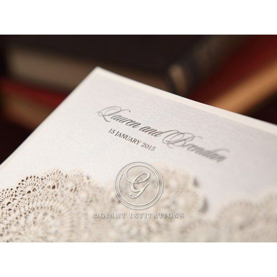 Silver/Gray Handmade Vintage Lace Floral - Wedding invitation - 68