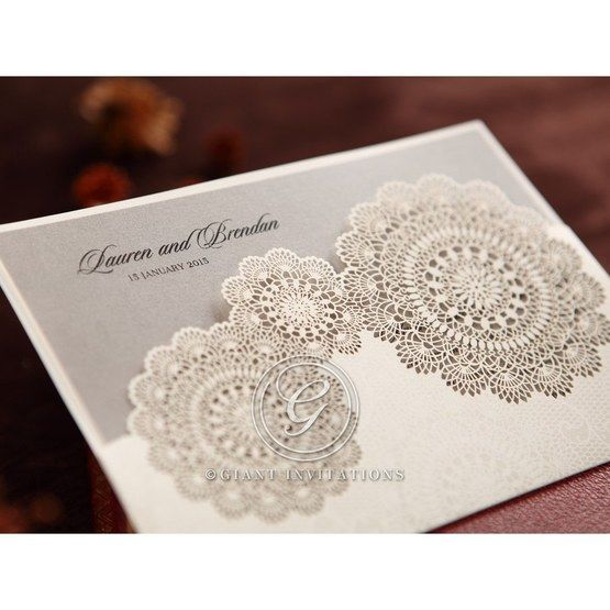 Silver/Gray Handmade Vintage Lace Floral - Wedding invitation - 65