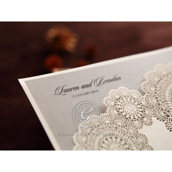 Silver/Gray Handmade Vintage Lace Floral - Wedding invitation - 71
