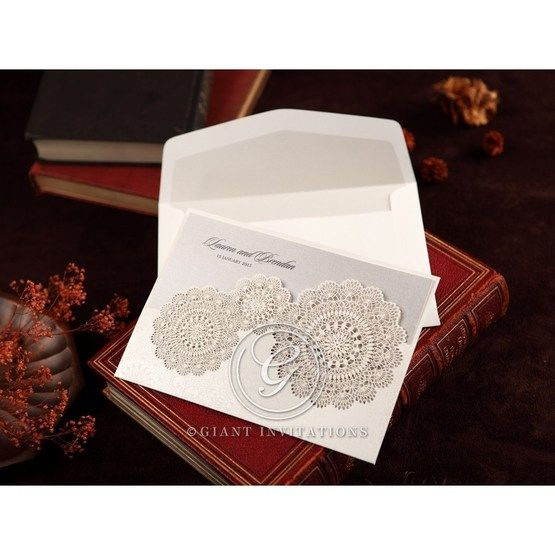 Silver/Gray Handmade Vintage Lace Floral - Wedding invitation - 72