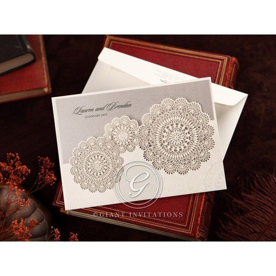 Silver/Gray Handmade Vintage Lace Floral - Wedding invitation - 73