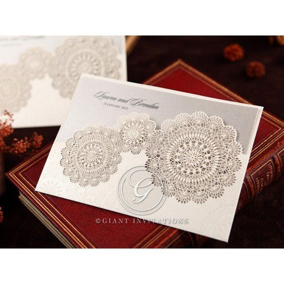 Silver/Gray Handmade Vintage Lace Floral - Wedding invitation - 74