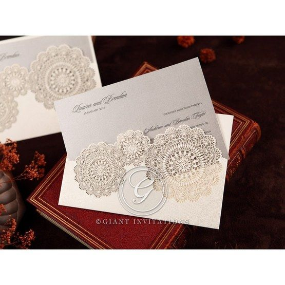 Silver/Gray Handmade Vintage Lace Floral - Wedding invitation - 70