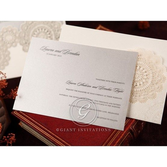 Silver/Gray Handmade Vintage Lace Floral - Wedding invitation - 66