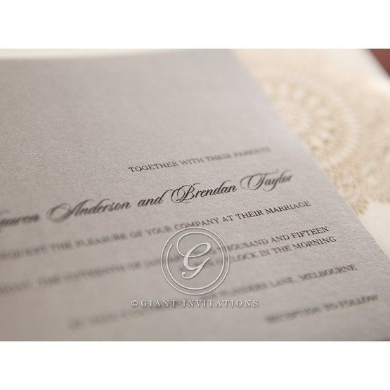 Silver/Gray Handmade Vintage Lace Floral - Wedding invitation - 67