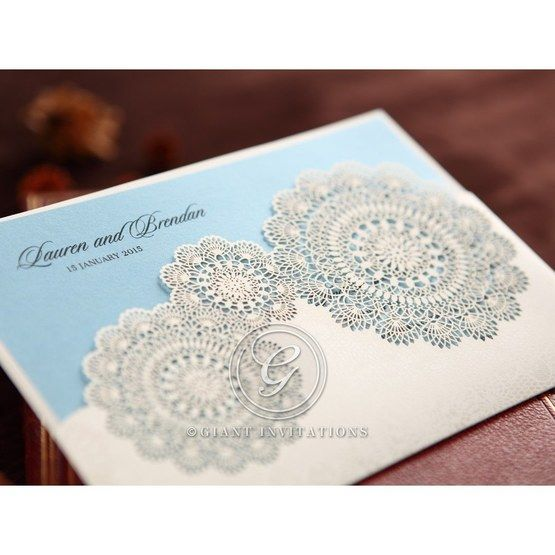 Blue and white lasercut wedding invitation, cropped