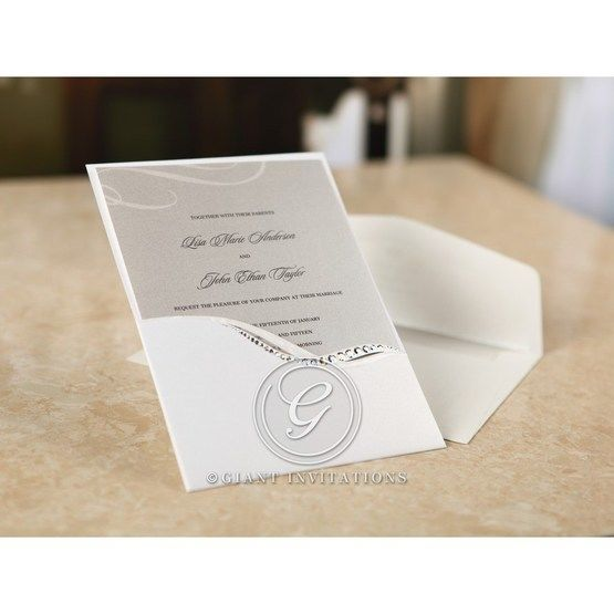 Gray and white patterned invitation card slid into a modern gemmed pocket
