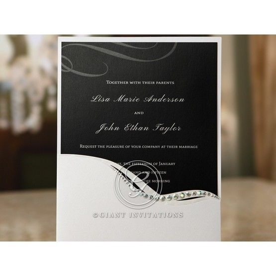 White pocket invite with jewels and swirl printed with flat ink print for the inner card,cropped