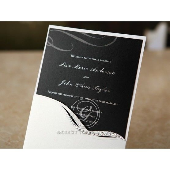 Custom black and white announcement card featuring silkscreened design black inner card with jewel