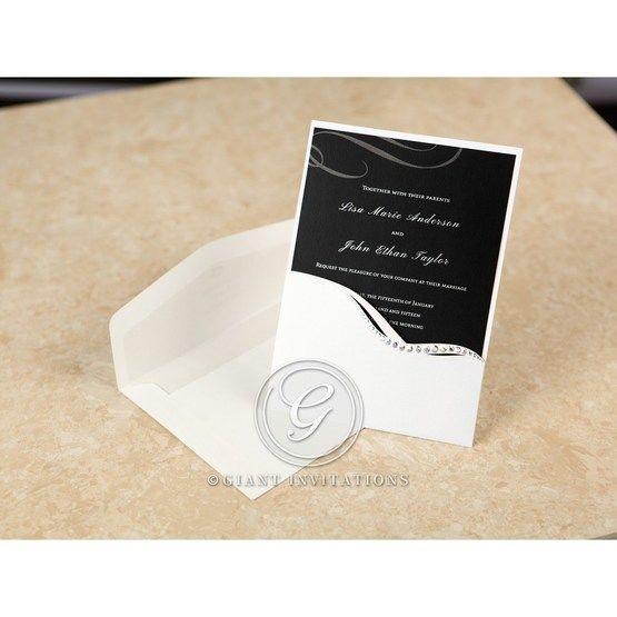 Classic pocket invite with jewel swirl design and black silkscreened design inner card