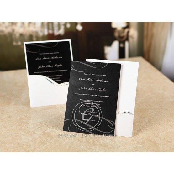 Digital type wedding invitation with custom wording in white ink