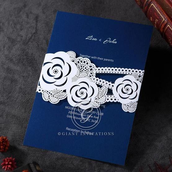 Laser cut sash featuring wild flowers design, pocket type, dark blue inner card