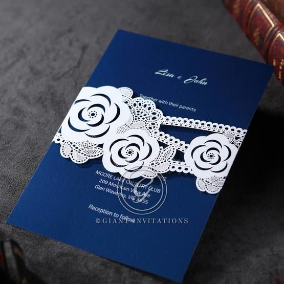 Dark blue inner card with digital printing wrapped in a wild flower laser cut sash