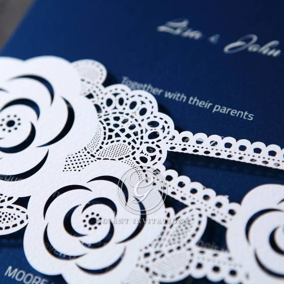 Wild flower banded invitation, blue insert