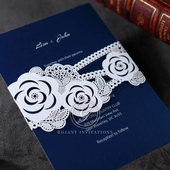 Digital printed dark blue insert with sash like laser cut wild flower designed pocket invite,cropped