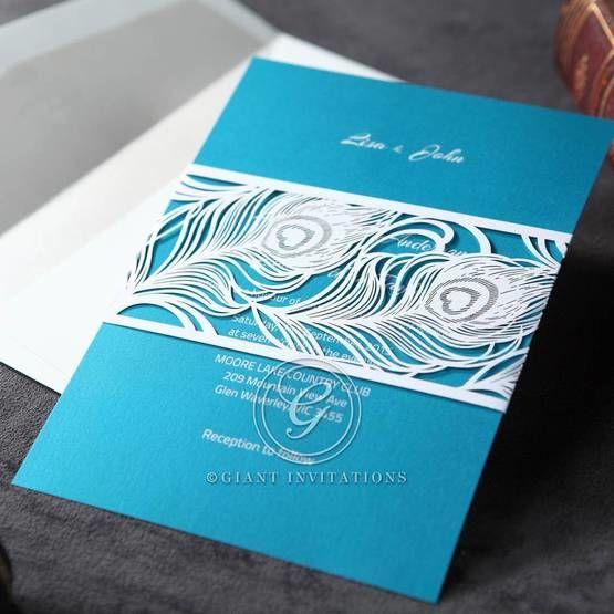 Modern designed laser cut pocket invite and digital printed light blue inner card, white