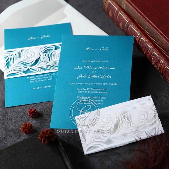 Peacock feather designed pocket invite laser cut and white digital printing, light blue inner card