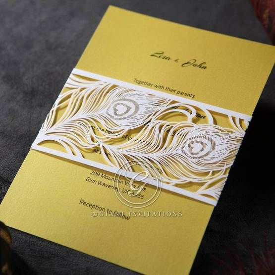 Yellow/Gold Mystic Forest Band Laser Cut - Wedding invitation - 10