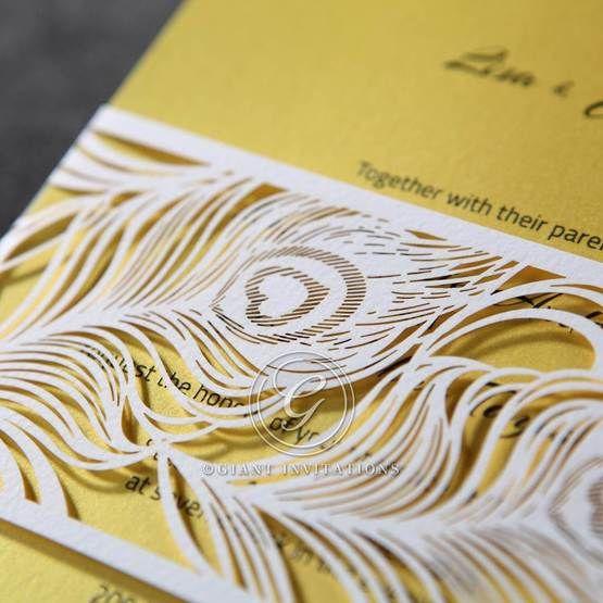 Yellow/Gold Mystic Forest Band Laser Cut - Wedding invitation - 12