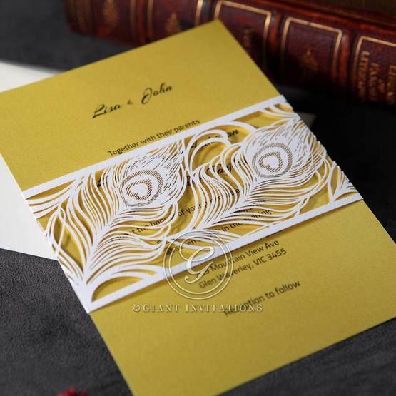 Yellow/Gold Mystic Forest Band Laser Cut - Wedding invitation - 15