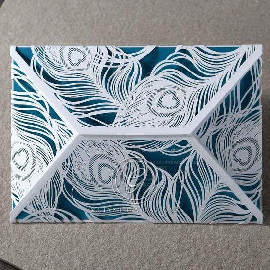 Blue Mystic Forest Laser Cut Wrap I - Wedding invitation - 48
