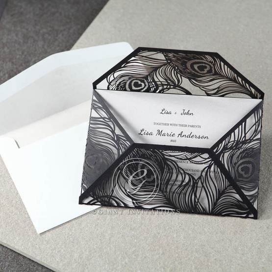 White Mystic Forest Laser Cut Wrap II - Engagement Invitations - 22