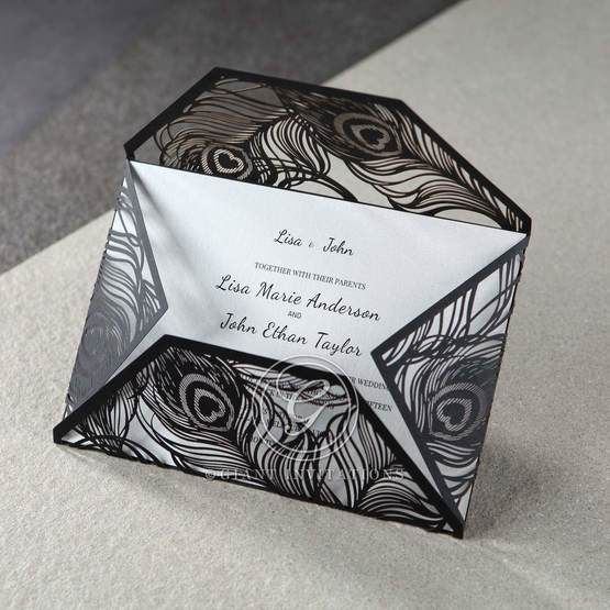 White Mystic Forest Laser Cut Wrap II - Bridal Shower Invitations - 96