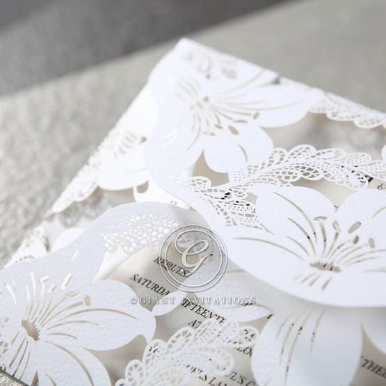 White Lily Blossoms Laser Cut Wrap - Wedding invitation - 50