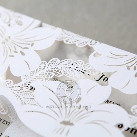 White Lily Blossoms Laser Cut Wrap - Wedding invitation - 51
