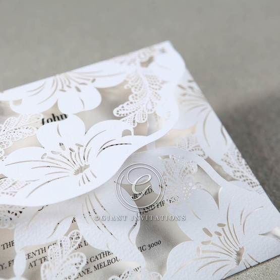 White Lily Blossoms Laser Cut Wrap - Wedding invitation - 52
