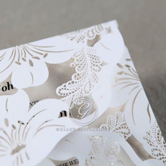 White Lily Blossoms Laser Cut Wrap - Hens Night Invitations - 26