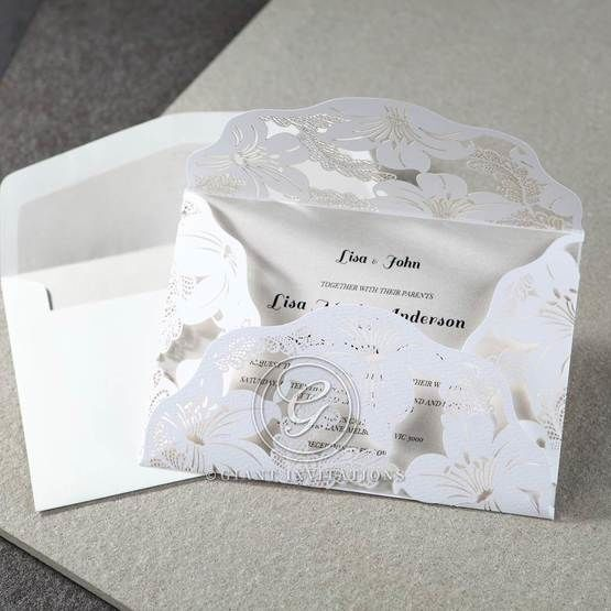 White Lily Blossoms Laser Cut Wrap - Corporate Invitation - 32