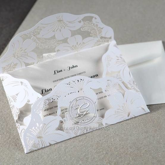 White Lily Blossoms Laser Cut Wrap - Wedding invitation - 55