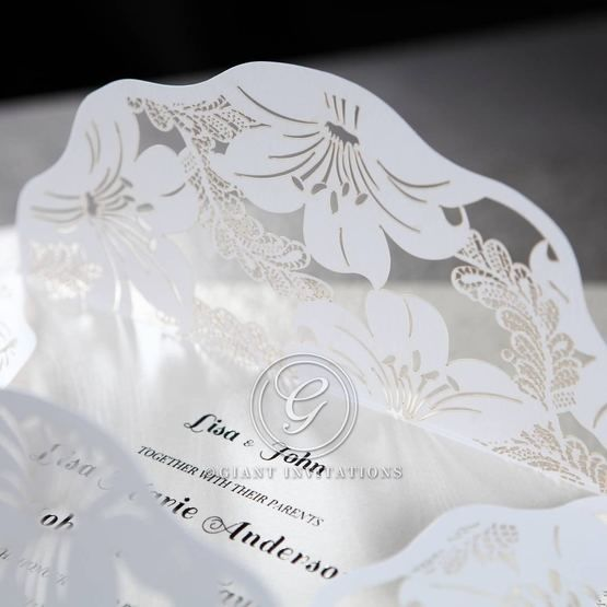 White Lily Blossoms Laser Cut Wrap - Corporate Invitation - 34